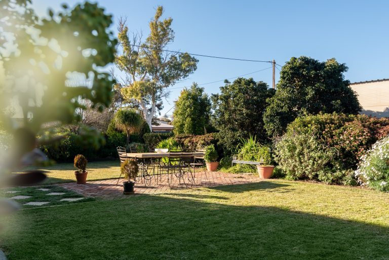 Garden lawn with outdoor setting, great in the late afternoon